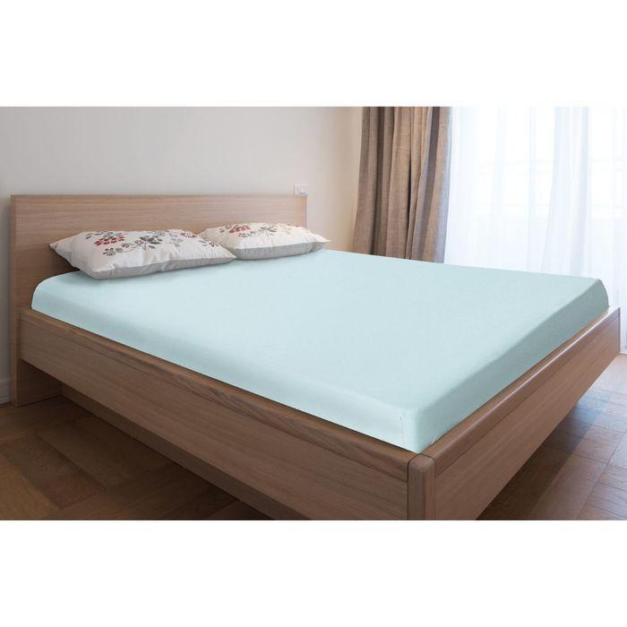 Простыня трикотажная на резинке, 140х200х20, цвет голубой, 125 гр/м2