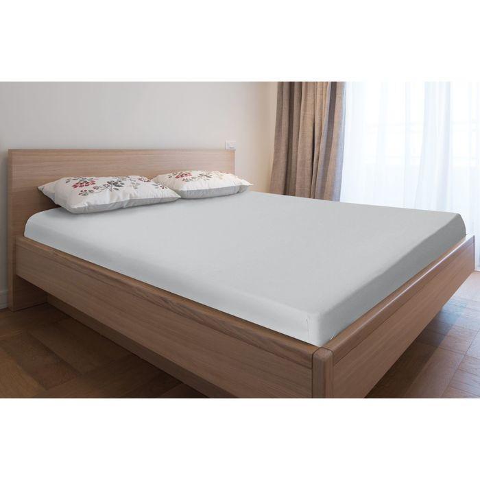 Простыня трикотажная на резинке, 120х200х20, цвет серый, 125 гр/м2
