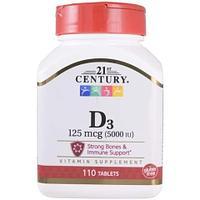 БАД Витамин D3, 5000 ME от 21 Century (110 таблеток)