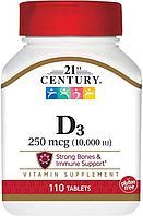 БАД Витамин D3, 10000 ME от 21 Century (110 таблеток)