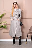 Женское осеннее драповое серое большого размера пальто LM РКО653 42р.