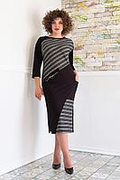Женское осеннее трикотажное черное большого размера платье Avanti Erika 1081 46р.