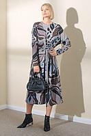 Женское осеннее трикотажное серое платье Art Ribbon M3388P 44р.