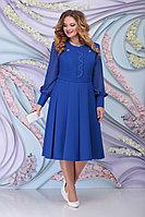 Женское осеннее синее большого размера платье Ninele 2269 василек 54р.