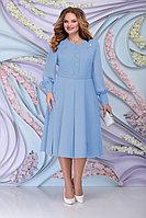 Женское осеннее шифоновое голубое большого размера платье Ninele 2269 голубой 54р.