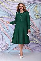 Женское осеннее шифоновое зеленое большого размера платье Ninele 2269 изумруд 54р.