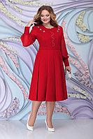 Женское осеннее шифоновое красное большого размера платье Ninele 2269 красный 54р.