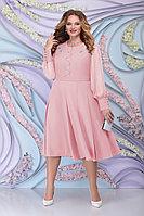 Женское осеннее шифоновое розовое большого размера платье Ninele 2269 пудра 54р.