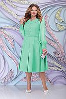 Женское осеннее шифоновое зеленое большого размера платье Ninele 2269 светло-зеленый 54р.