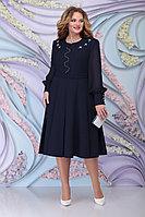 Женское осеннее шифоновое синее большого размера платье Ninele 2269 синий 54р.