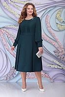 Женское осеннее шифоновое зеленое большого размера платье Ninele 2270 изумруд 54р.
