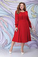 Женское осеннее шифоновое красное большого размера платье Ninele 2270 красный 54р.