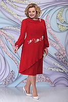 Женское осеннее шифоновое красное большого размера платье Ninele 5800 красный 52р.