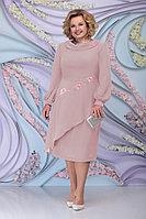 Женское осеннее шифоновое розовое большого размера платье Ninele 5800 пудра 52р.