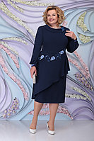 Женское осеннее шифоновое синее большого размера платье Ninele 5800 синий 52р.