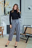 Женские осенние трикотажные серые брюки ASV 2304 розово-серые 44р.