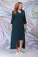 Женское осеннее шифоновое зеленое большого размера платье Ninele 5804 изумруд 52р.