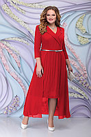 Женское осеннее шифоновое красное большого размера платье Ninele 5804 красный 52р.