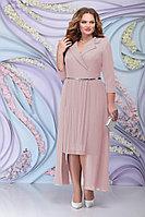 Женское осеннее шифоновое розовое большого размера платье Ninele 5804 пудра 52р.