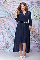 Женское осеннее шифоновое синее большого размера платье Ninele 5804 синий 52р.