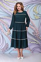 Женское осеннее шифоновое зеленое большого размера платье Ninele 7304 изумруд 52р.
