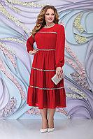 Женское осеннее шифоновое красное большого размера платье Ninele 7304 красный 52р.