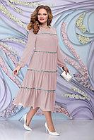 Женское осеннее шифоновое розовое большого размера платье Ninele 7304 пудра 52р.