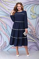 Женское осеннее шифоновое синее большого размера платье Ninele 7304 синий 52р.