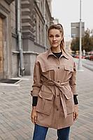Женская осенняя джинсовая коричневая большого размера куртка Legend Style G-013 кофейный 42р.