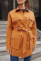 Женская осенняя джинсовая красная большого размера куртка Legend Style G-013 терракотовый 42р.