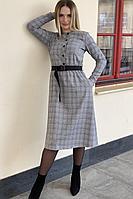 Женское осеннее серое платье S.O.L O Me 575 серая_клетка 42р.