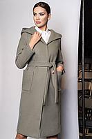 Женское осеннее драповое зеленое пальто Urs 20-386-2 44р.