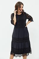 Женское осеннее трикотажное черное нарядное большого размера платье Anastasiya Mak 746 черный 50р.