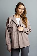 Женская осенняя драповая бежевая куртка Mirolia 843 бежевый 44р.