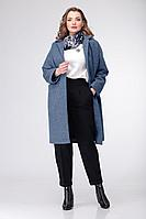 Женская осенняя трикотажная брюки и джемпер и пальто Deluizn 869 св.синий-молоко-черный 44р.