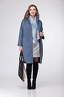 Женская осенняя трикотажная пальто и платье Deluizn 868 св.синий-молоко 44р.
