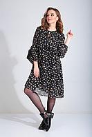 Женское осеннее шифоновое черное большого размера платье MALI 420-121 черный 48р.