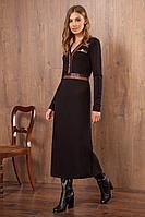Женское осеннее трикотажное черное нарядное платье Nova Line 50010 42р.