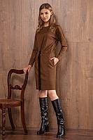Женское осеннее коричневое нарядное платье Nova Line 50013 рыжий 42р.