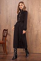 Женское осеннее трикотажное черное нарядное платье Nova Line 50033 черный 42р.