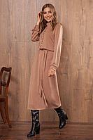 Женское осеннее трикотажное бежевое нарядное платье Nova Line 50033 бежевый 42р.