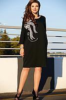 Женское осеннее трикотажное черное нарядное большого размера платье Vittoria Queen 11613 черный 48р.