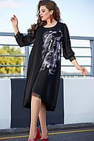Женское осеннее черное нарядное большого размера платье Vittoria Queen 11683 черный 52р.
