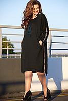 Женское осеннее трикотажное черное нарядное большого размера платье Vittoria Queen 11843 черный 54р.