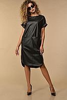 Женское осеннее кожаное черное большого размера платье Сч@стье 7115 56р.