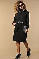 Женское осеннее хлопковое черное большого размера платье Сч@стье 7116 56р.