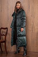 Женское зимнее зеленое пальто Nova Line 10064 изумруд 42р.