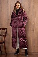 Женское зимнее фиолетовое пальто Nova Line 10064 слива 42р.