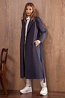 Женское осеннее драповое синее пальто Nova Line 10066 42р.