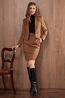 Женский осенний коричневый деловой жакет Nova Line 10096 42р.